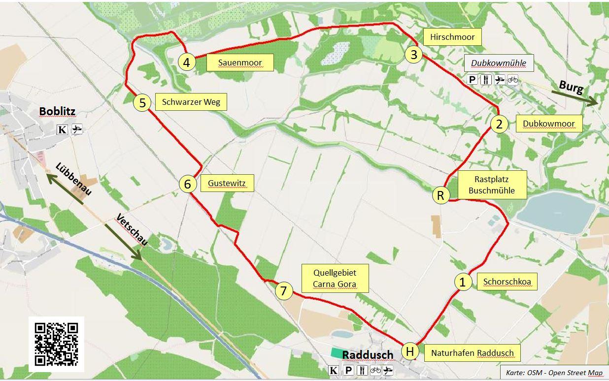 Karte Spreewald Lubbenau.Moorlehrpfad Moorpfad Rundwanderweg Raddusch